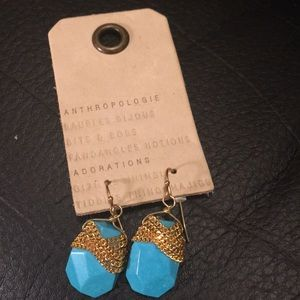 Anthropologie turquoise and gold dangly earrings